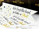 Gold Foil Hot Stamping Tied the Knot Take a Shot Pennant Flag Favor Tags