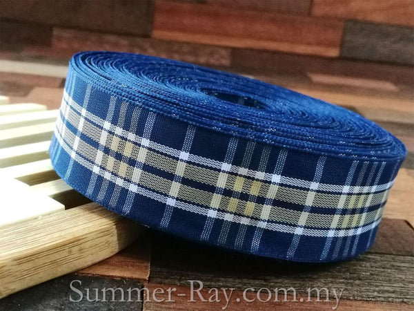 Tartan Ribbons Blue Scottish 25mm - 19.5 yards