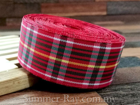 Tartan Ribbons Red Scottish 25mm - 5 or 9.5 yards