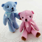 Mini Gingham Teddy Bear 120mm - 10 pieces