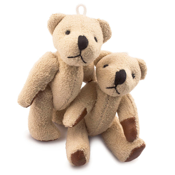 2.4 inches Mini Jointed Khaki Brown Teddy Bears with Faux Leather