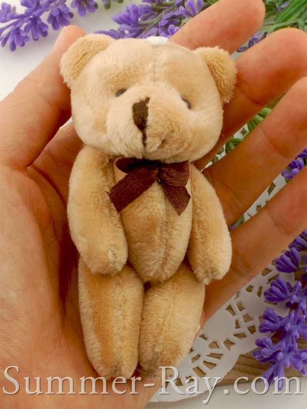Mini Brown Teddy Bear with Bow 80mm - 10 or 20 pieces