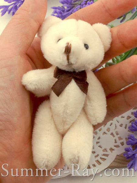 Mini Off White Teddy Bear with Bow 80mm - 10 or 20 pieces