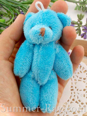 Mini Blue Teddy Bear 90mm - 10 pieces