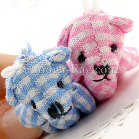 Mini Gingham Teddy Bear 40mm - 10 or 50 pieces