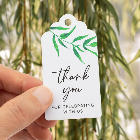 50pcs Thank You for Celebrating with Us Gift Tags with Water Color Willow Leaves Wedding Favors Tags