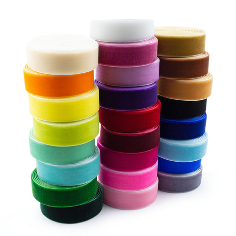 50 Yards 3/4 Inch Velvet Ribbon 25 Colors Value Pack