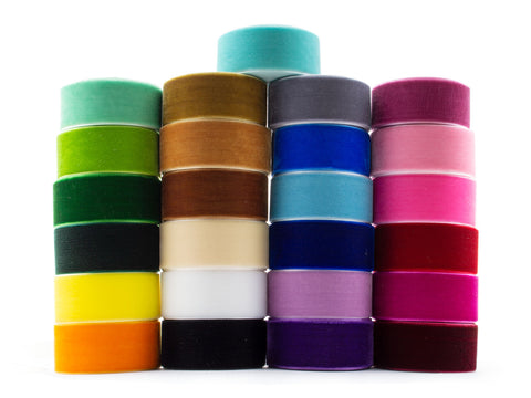 50 Yards 1 Inch Velvet Ribbon 25 Colors Value Pack