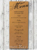 Personalized Wedding Kraft Menu