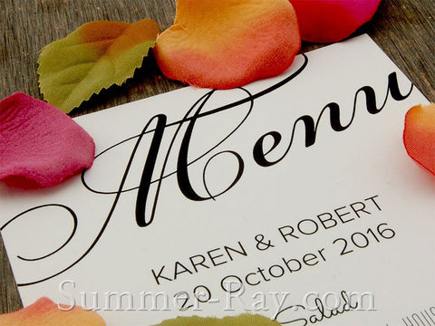 Personalized Wedding White Menu
