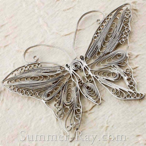 White Gold Plated Large Butterfly Filigree Pendant