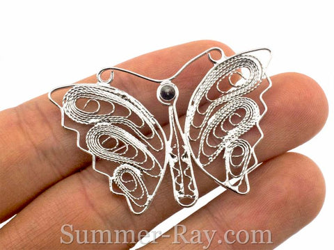 White Gold Plated Butterfly Filigree Pendant