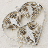White Gold Plated Large Heart Filigree Pendant