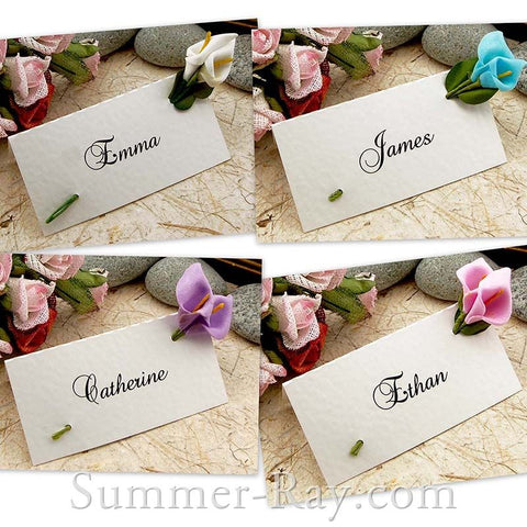 White Place Card with Foam Calla Lilies