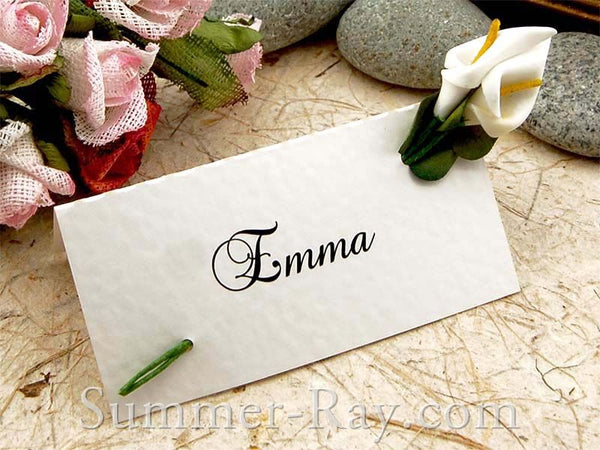 Place Card with White Calla Lilies
