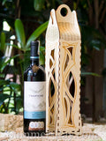 Laser Cut Out Wooden Wine Box with Handle - 4 design selections