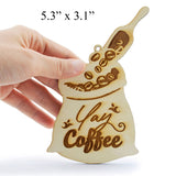 Wooden Coffee Theme Laser Cutout DIY Craft Party Decoration Embellishment Room Decoration Café Art