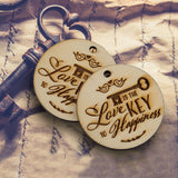 Wooden Love is The Key to Happiness Gift Tags Wedding Thank You Tags