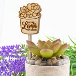 Wooden Let Love Grow Wedding Bridal Shower Succulent Favour Plant Markers