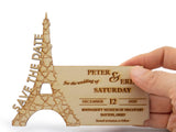 Personalized Wooden Save the Date Fridge Magnet Eiffel Tower Romantic Paris Theme