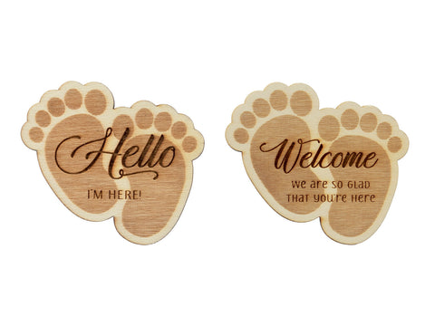 Wooden Baby Feet Baby Shower Tag with Wooden Peg Favor Tags