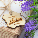 Wooden Elegant Square Thank You for Celebrating with Us Favor Tags Wedding Gift Tags