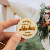 Wooden Round Thank You for Celebrating with Us Tag with Wooden Peg Party Favor Tags