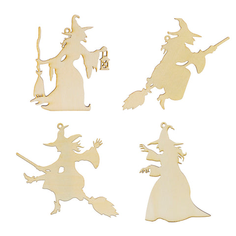 Wooden Witch Laser Cutout DIY Craft Halloween Party Decoration Art Embellishment Room Decoration
