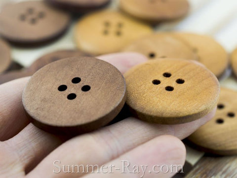 4-Eye Wooden Buttons 30 mm