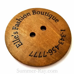 2-Eye Personalized Wooden Engraved Buttons 60 mm