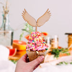 Wooden Angel Wings Laser Cut Cupcake Topper for Baby Shower Birthday Parties