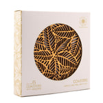 Laser cut Round Palmate Leaf Wooden Coasters with Holder Wedding Favors House Warming Gift