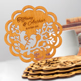 Personalized Wooden Coaster Wedding Favors Lovebirds Rustic Wedding Keepsake