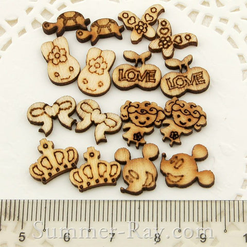 Mini Wooden Embellishments for Scrapbooking - 250 pieces