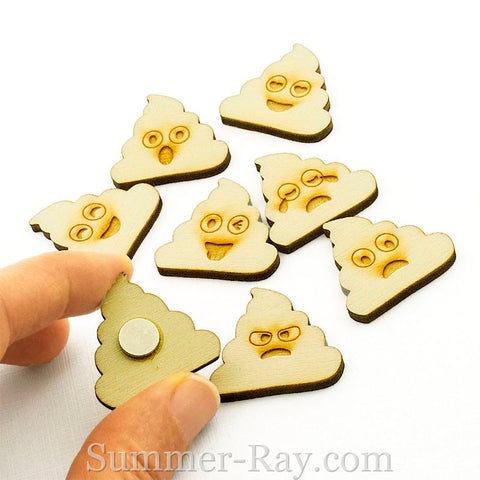 Laser Cut Out Wooden Poo Emoji Multi Design Fridge Magnets