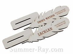 Personalized White Wooden Feather Place Card