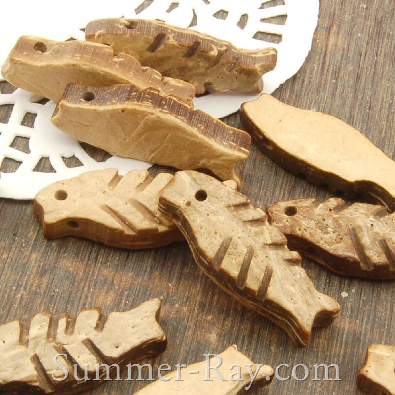 Natural Wooden Fish Charm Pendant