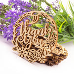 Wooden Laser Cut Thank You Floral Wedding Birthday Party Rustic Favor Gift Tags
