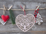 Wooden Laser Heart Hanging Ornament for Wedding Party/Home Decoration (4 Mixed Designs)