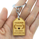 Personalized Engraved Gold Wooden Wedding Favor Key Chain