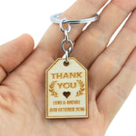 Personalized Engraved Unfinished Wooden Wedding Favor Key Chain