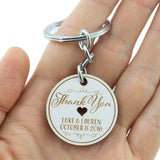 Personalized Engraved White Wooden Wedding Favor Key Chain