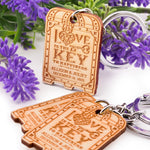 Personalized Wooden Love is The Key to Happiness Key Chain Wedding Favors