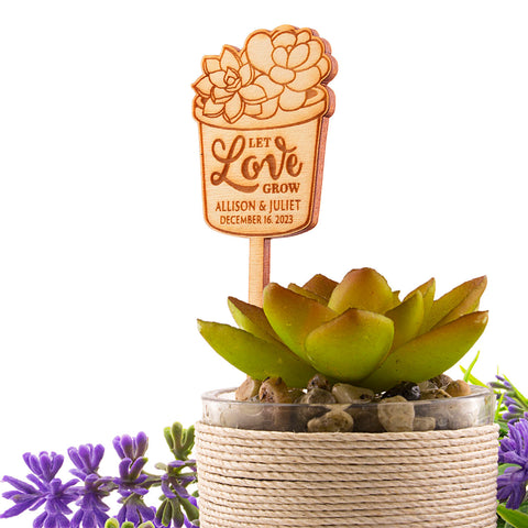 Personalized Wooden Let Love Grow Wedding Bridal Shower Succulent Plant Favor Tags
