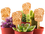 Personalized Wooden Let Love Grow Wedding Bridal Shower Succulent Plant Favor Marker