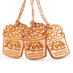 Personalized Wooden Let Love Grow Wedding Bridal Shower Succulent Favors Tags