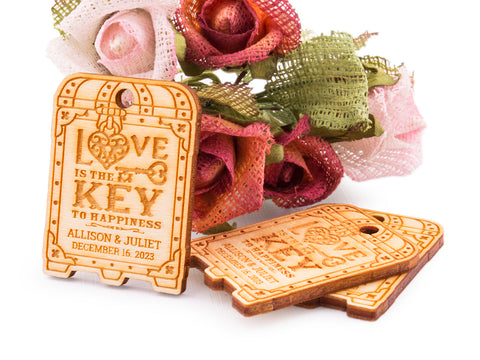 Personalized Wooden Love is The Key to Happiness Wedding Bridal Shower Favors Tags