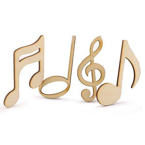 "Laser Cut Wooden Musical Notes 3"" Scrapbooking Embellishment DIY Craft 4 Designs"