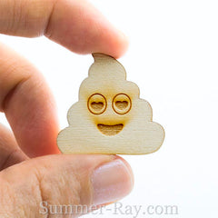 Laser Cut Out Wooden Poo Emoji Tokens