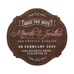 Personalized Wooden Save the Date Fridge Magnet for Rustic Wedding